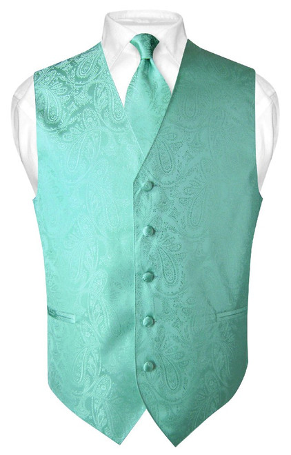 Mens Paisley Design Dress Vest & NeckTie Aqua Green Color Neck Tie Set