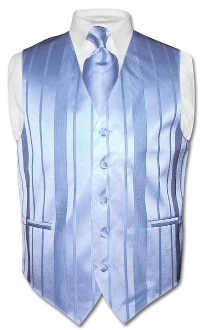 Mens Dress Vest & NeckTie Baby Blue Color Woven Striped Neck Tie Set