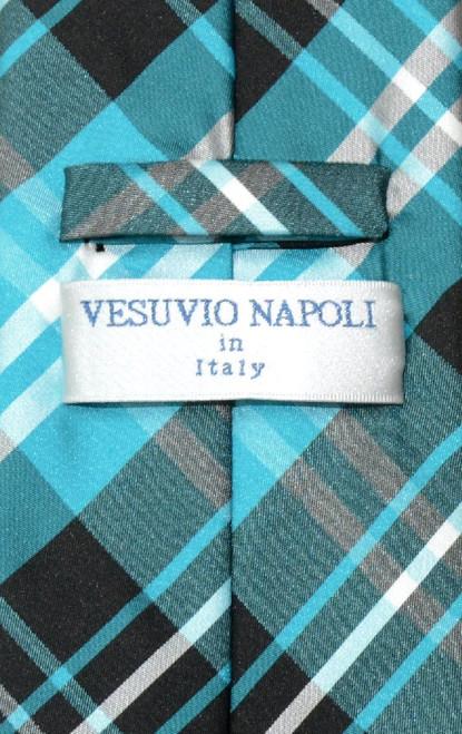 Vesuvio Napoli NeckTie Black Turquoise White Plaid Design Mens Tie