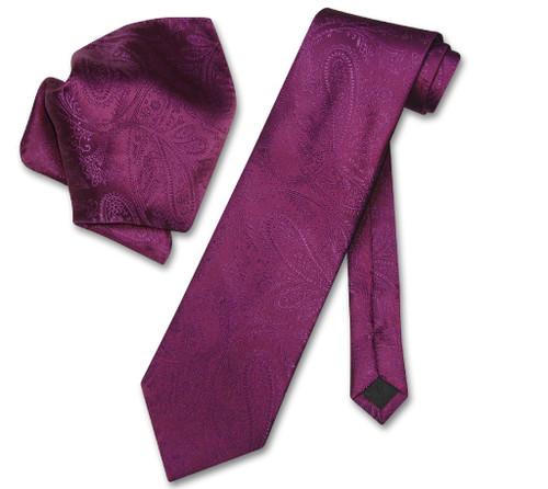Vesuvio Napoli Eggplant Purple Paisley NeckTie & Handkerchief Tie Set