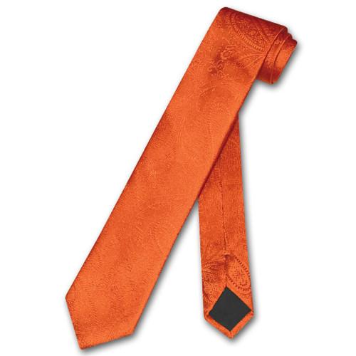 Vesuvio Napoli Narrow NeckTie Solid Burnt Orange Paisley Skinny Tie