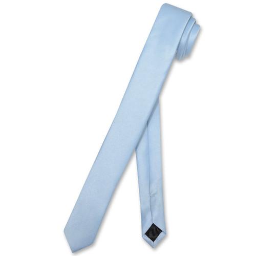 Vesuvio Napoli Narrow NeckTie Extra Skinny Baby Blue Neck Tie
