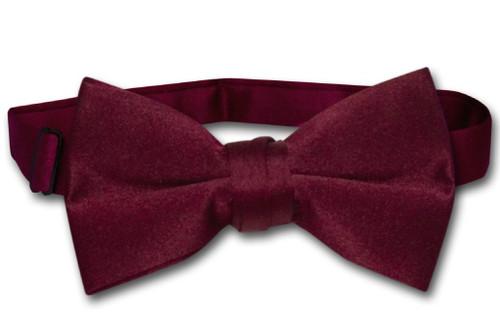 Vesuvio Napoli Boys BowTie Solid Burgundy Color Youth Bow Tie