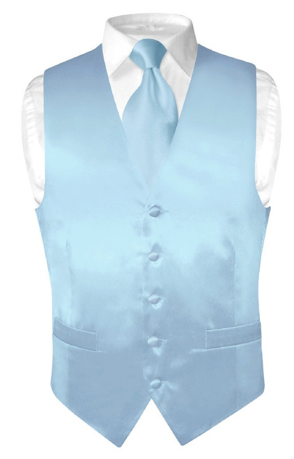 Baby Blue Vest | Baby Blue NeckTie | Silk Vest Neck Tie Set
