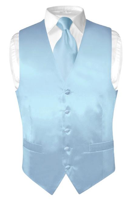 Biagio Mens Silk Dress Vest NeckTie Solid Baby Blue Neck Tie Set