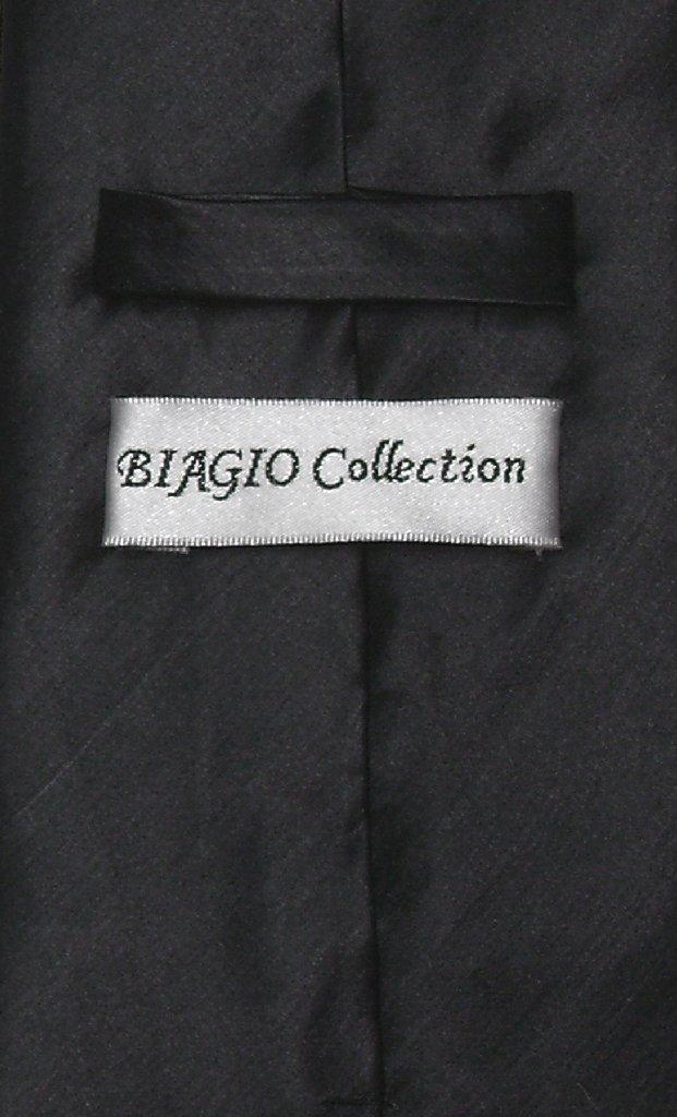 Biagio Mens Solid Black Bamboo Silk Dress Vest Neck Tie Set size 2XL