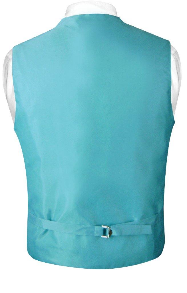 Mens Paisley Design Dress Vest Bow Tie Turquoise Aqua Blue BowTie Set