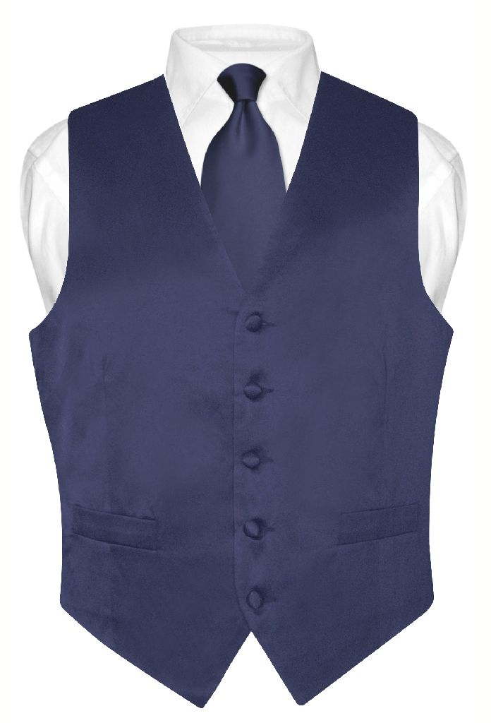 Biagio Mens Silk Dress Vest NeckTie Solid Navy Blue Neck Tie Set