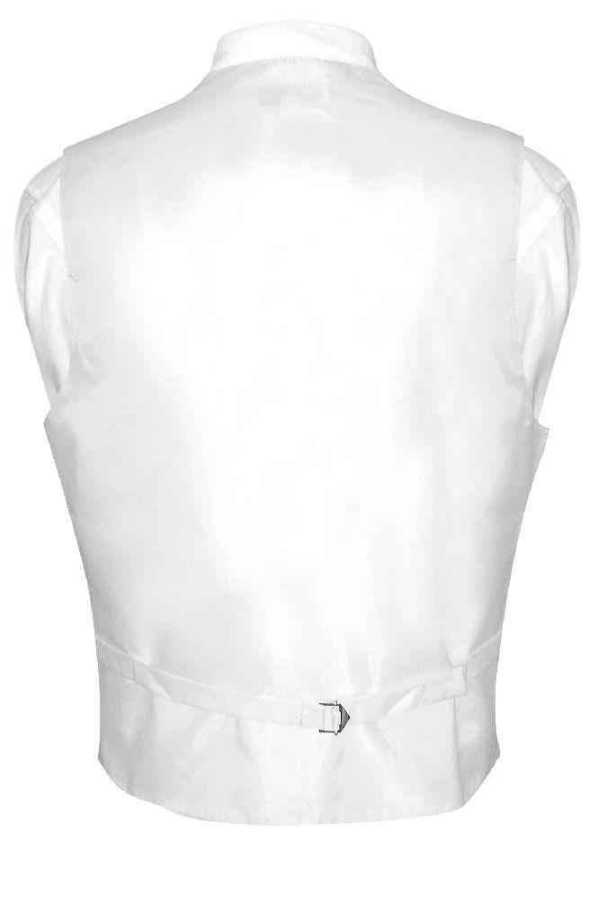 Mens Dress Vest & NeckTie Solid White Color Neck Tie Set
