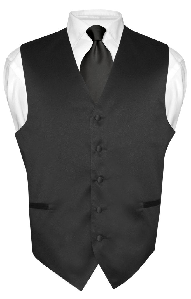 Black Tie And Black Vest Set | Black Vest And Neck Tie Set