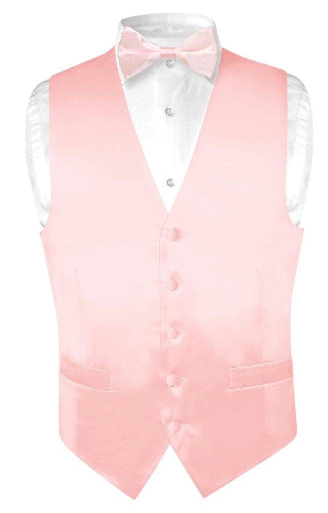 Biagio Mens Silk Dress Vest Bow Tie Solid Light Pink Color BowTie Set