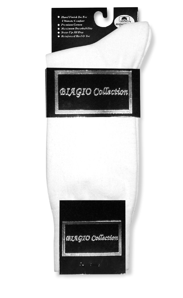 1 Pair of Biagio Solid WHITE Color Men's COTTON Dress SOCKS