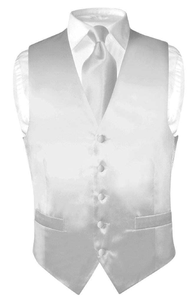 Mens Silk Vest Tie | Mens Silk Dress Vest & Neck Tie In Silver Grey