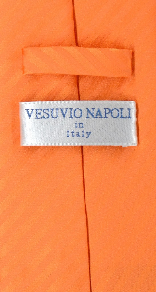 Vesuvio Napoli Orange Striped NeckTie & Handkerchief Mens Neck Tie Set