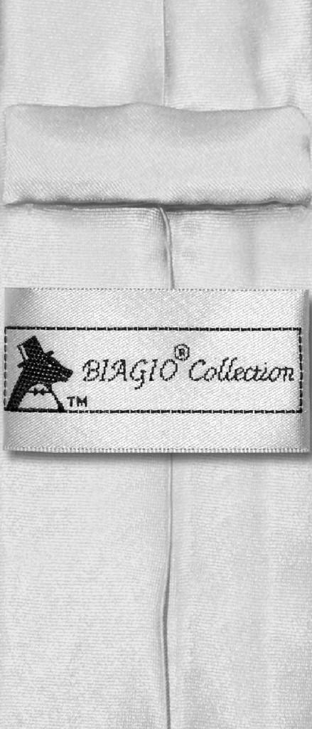 Biagio Boys NeckTie Solid Silver Grey Color Youth Neck Tie