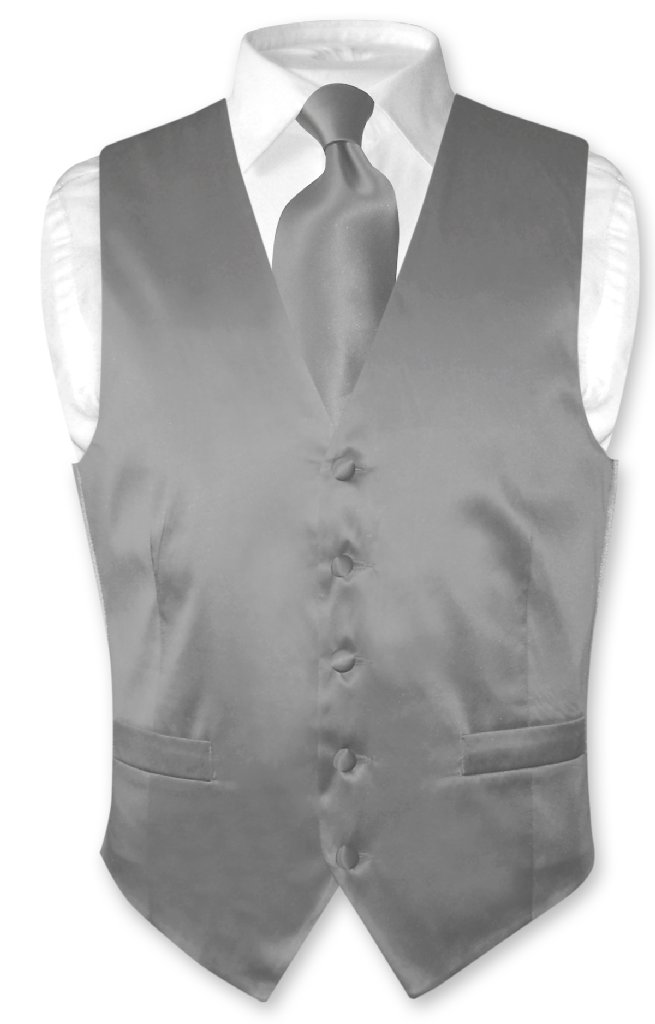 Biagio Mens Silk Dress Vest NeckTie Solid Charcoal Grey Neck Tie Set