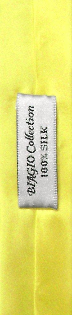 Biagio 100% Silk Narrow NeckTie Extra Skinny Yellow Color Men Neck Tie