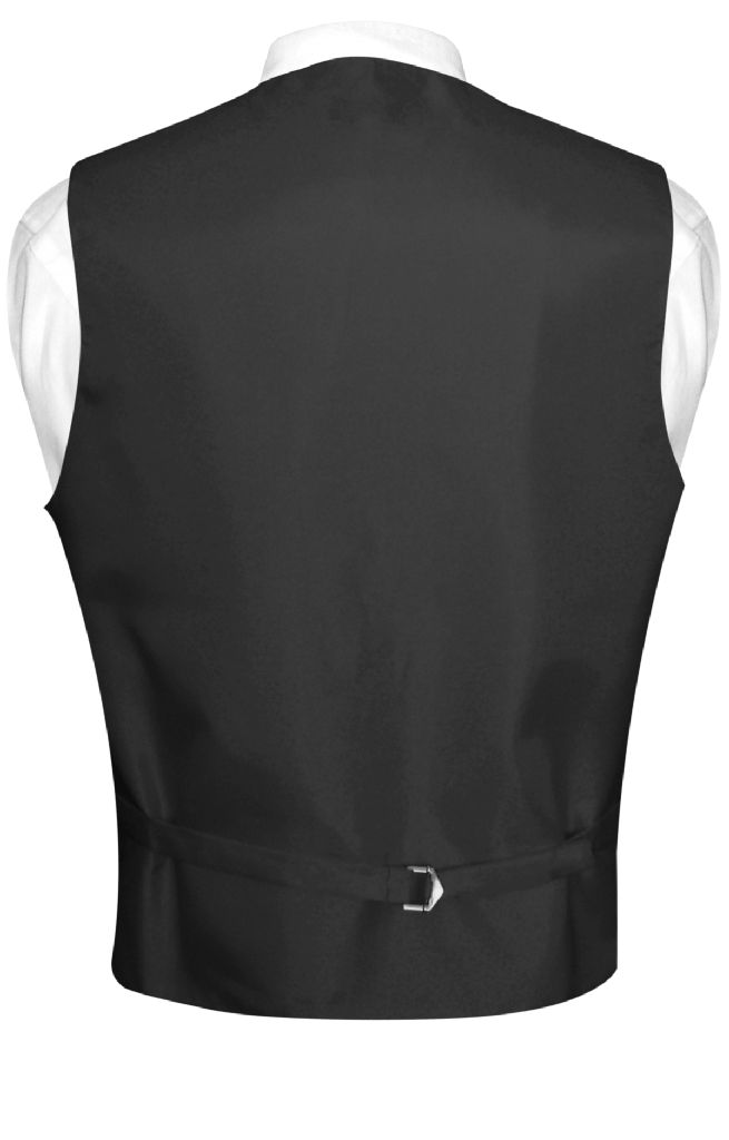 Mens Dress Vest & NeckTie Solid Navy Blue Color Neck Tie Set