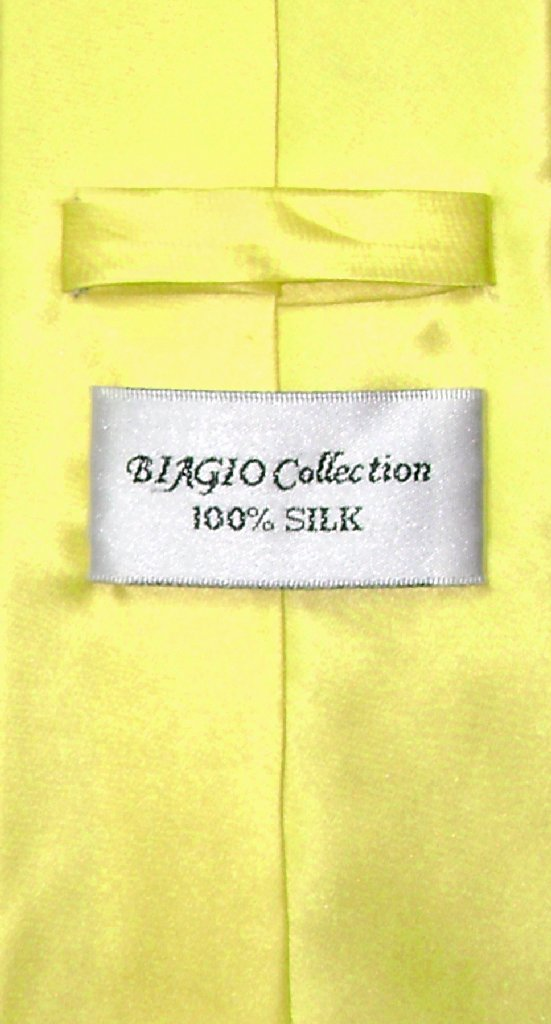 Biagio 100% Silk NeckTie Solid Yellow Color Mens Neck Tie