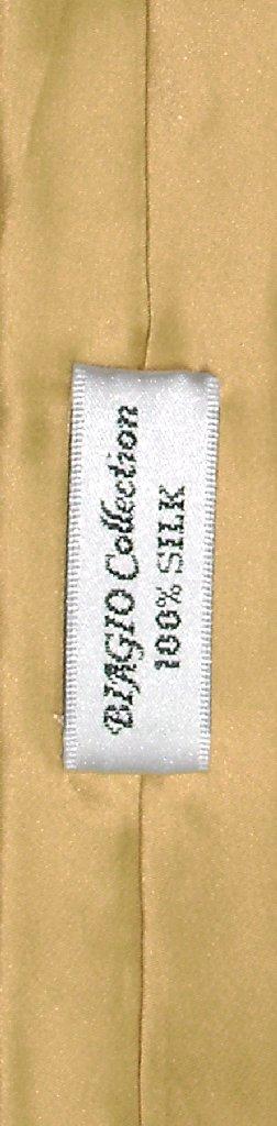 Biagio 100% Silk Narrow NeckTie Extra Skinny Gold Color Mens Neck Tie