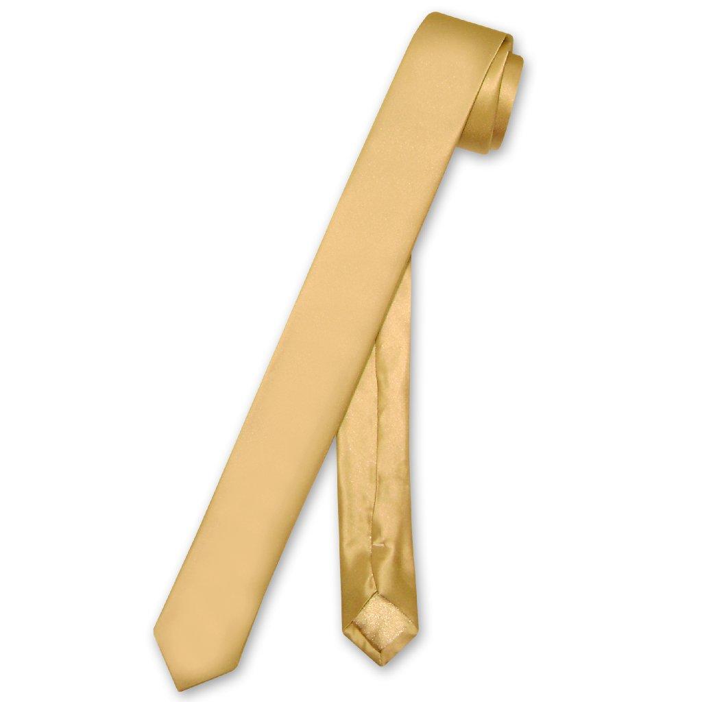 """Biagio 100% SILK Narrow NeckTie EXTRA Skinny GOLD Color Men's 1.5"""" Neck Tie"""