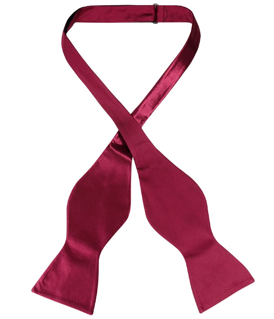 Biagio SELF TIE Bow Tie Solid BURGUNDY Color Men's BowTie