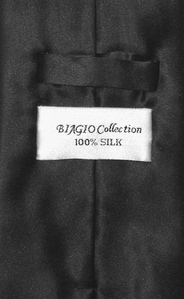 Biagio Men's SILK Dress Vest & NeckTie Solid BLACK Color Neck Tie Set