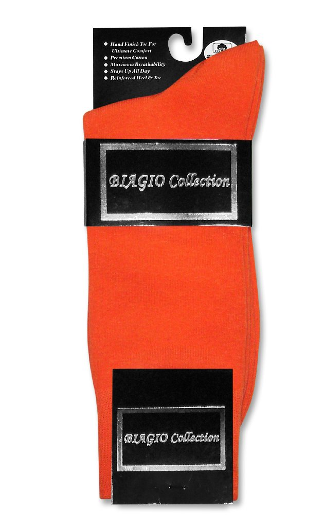 Orange Cotton Dress Socks | 3 Pair Mens Biagio Cotton Dress Socks