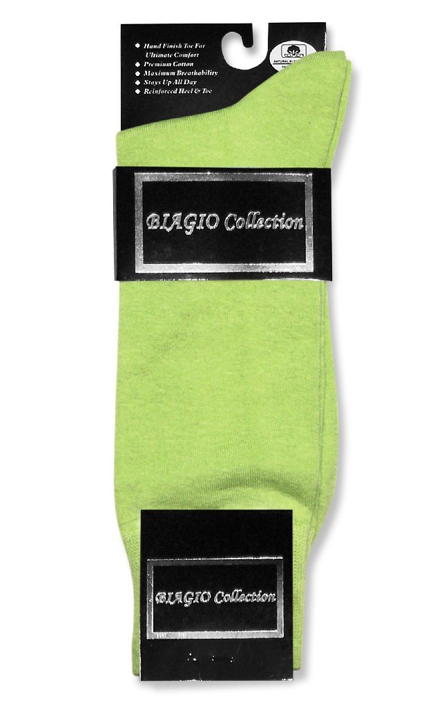 Lime Green Dress Socks | 6 Pairs Of Biagio Cotton Dress Socks