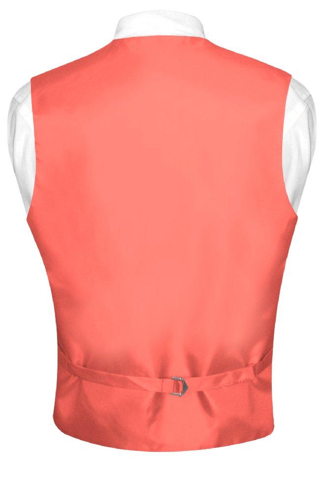 Coral Vest And Tie | Solid Color Coral Pink Vest And NeckTie Set