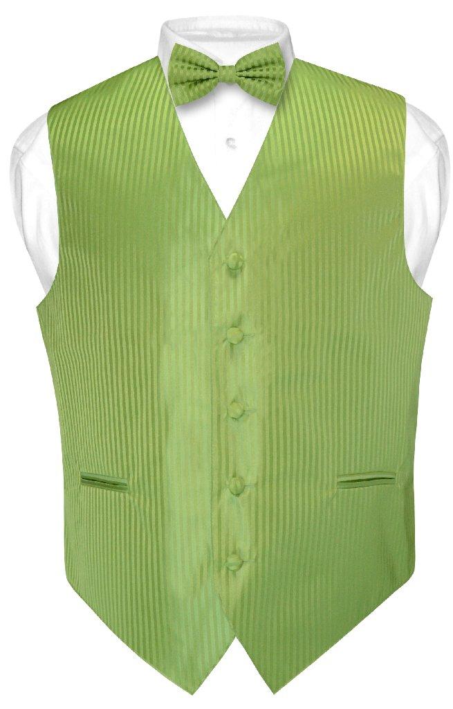 b9eb5d62030c ... Tie Set; Men's Dress Vest & BOWTie SPINACH GREEN Color Vertical Stripe  Design Bow ...