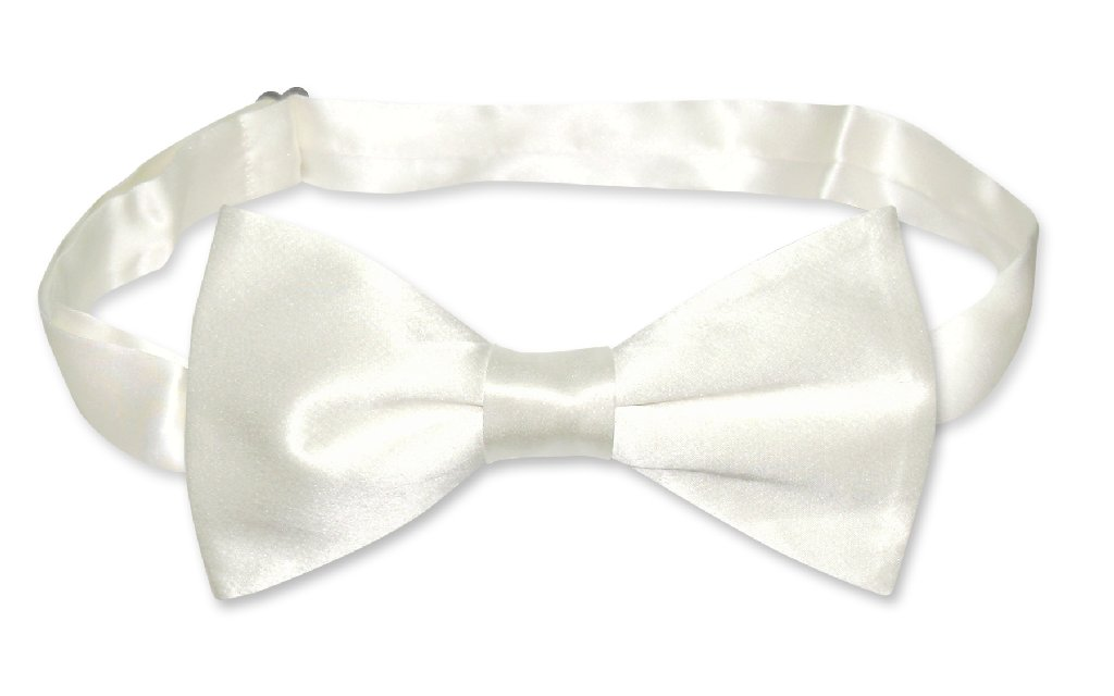 BIAGIO 100% SILK BOWTIE Solid OFF-WHITE IVORY Color Men's Bow Tie for Tux Suit
