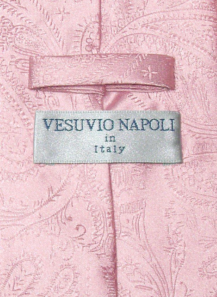 Vesuvio Napoli Pink Paisley NeckTie & Handkerchief Mens Neck Tie Set