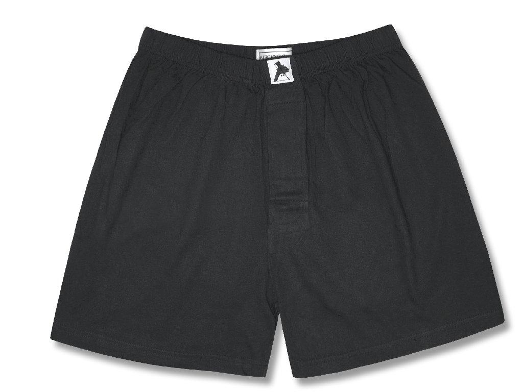 100% Knit Cotton Boxer Shorts | Biagio Mens Solid Black Color Boxers