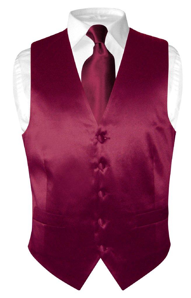 Biagio Mens Silk Dress Vest NeckTie Solid Burgundy Neck Tie Set