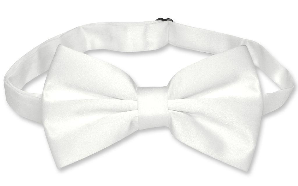 Mens Dress Vest & BowTie Solid White Color Bow Tie Set