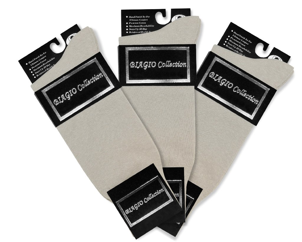 3 Pair of Biagio Solid SILVER GREY Color Men's COTTON Dress SOCKS