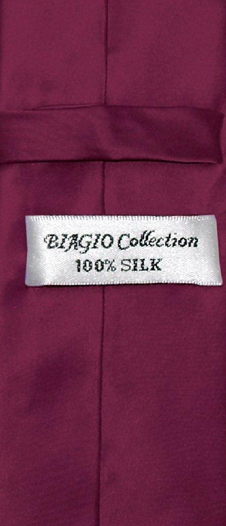 dbe48da5a48d6 Biagio 100% Silk Narrow NeckTie Skinny Eggplant Purple Color Mens Tie