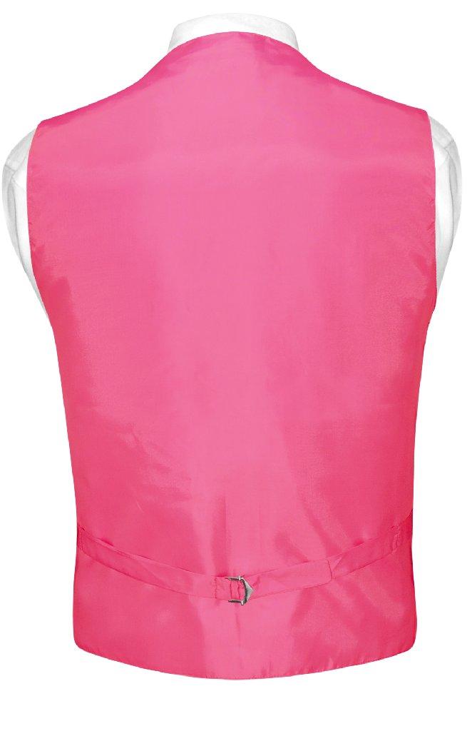 Mens Dress Vest BowTie Hot Pink Fuchsia Woven Horizontal Stripe Set