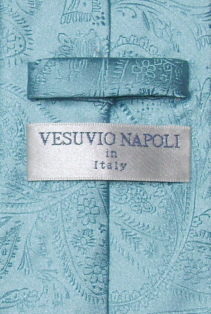 Vesuvio Napoli Turquoise Blue Paisley NeckTie & Handkerchief Tie Set