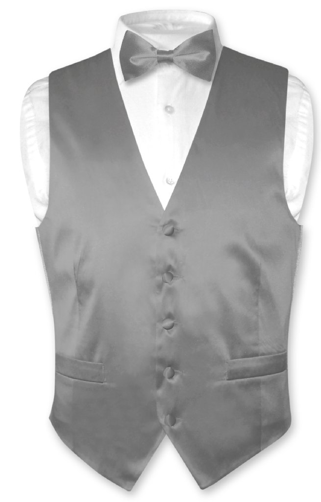 Biagio Mens Silk Dress Vest & Bow Tie Solid Charcoal Grey BowTie Set