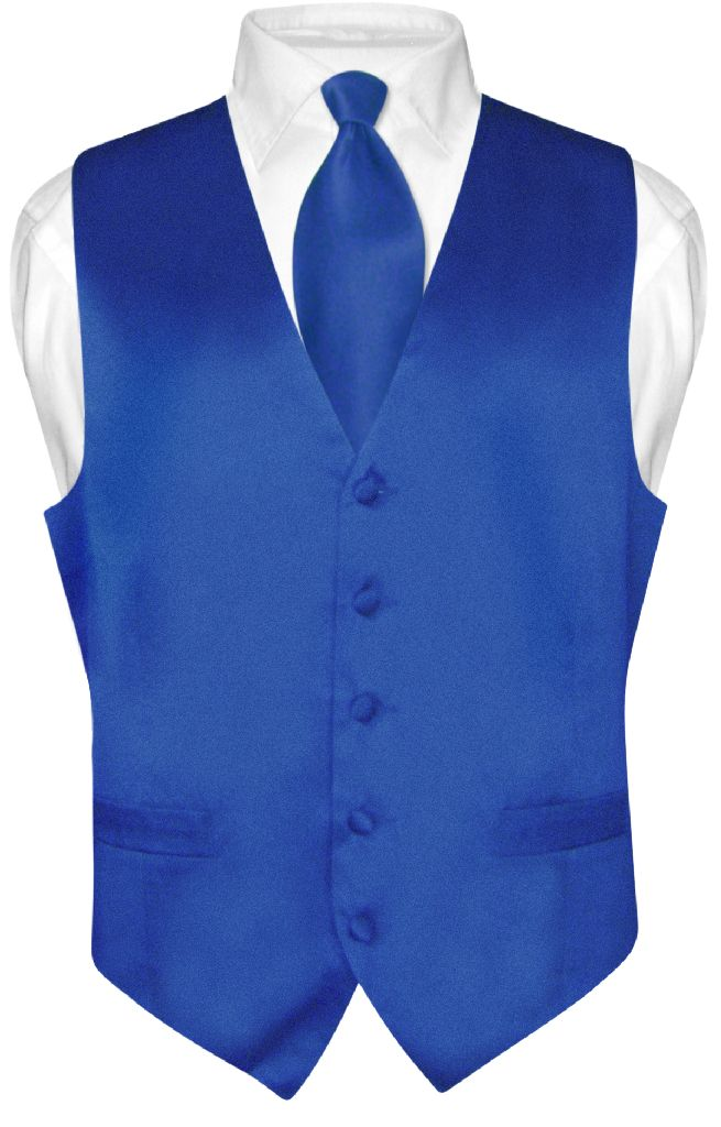Biagio Mens Silk Dress Vest NeckTie Solid Royal Blue Neck Tie Set