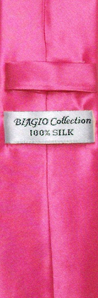 Biagio 100% Silk Narrow NeckTie Skinny Hot Pink Fuchsia Color Mens Tie