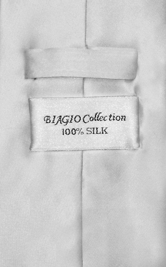 Biagio 100% Silk NeckTie Solid Silver Grey Color Mens Gray Neck Tie