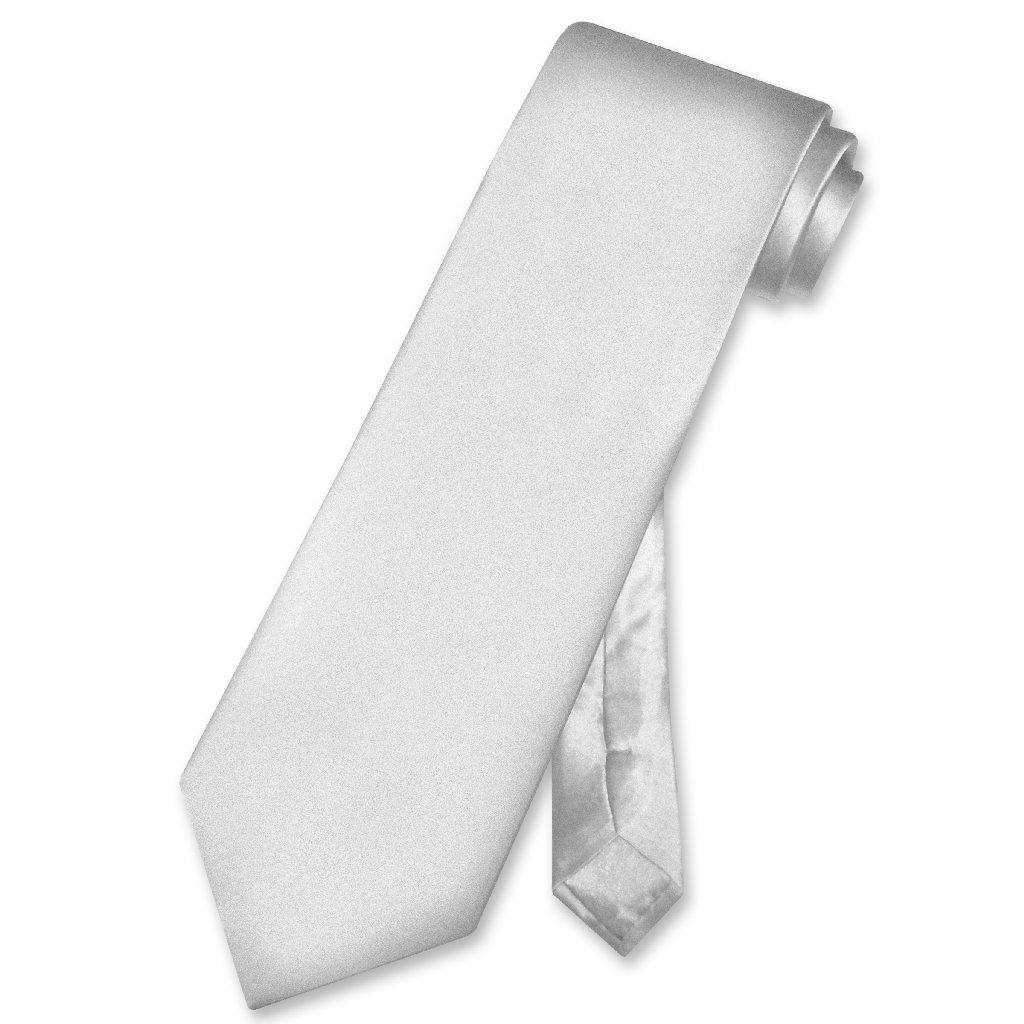 Biagio 100% SILK NeckTie Solid SILVER GREY Color Men's Gray Neck Tie
