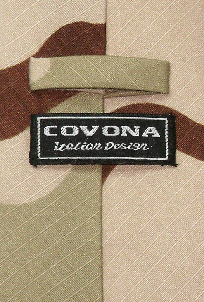 Covona Mens Beige Army Camouflage NeckTie Military Neck Tie