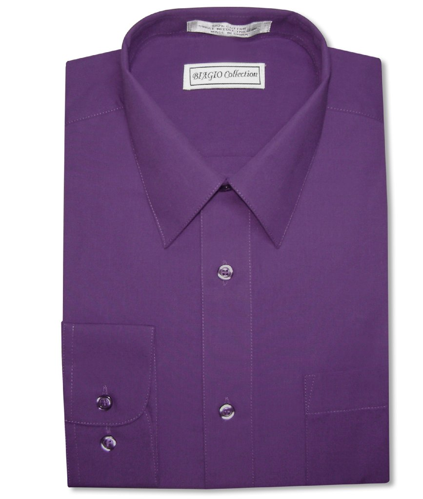 Biagio Men's 100% COTTON Solid PURPLE INDIGO Dress Shirt w/ Convertible Cuffs