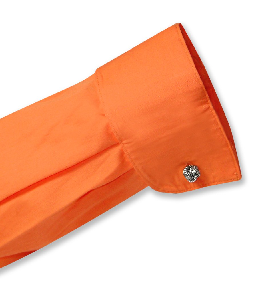 Biagio Men's 100% COTTON Solid BURNT ORANGE Dress Shirt w/ Convertible Cuffs