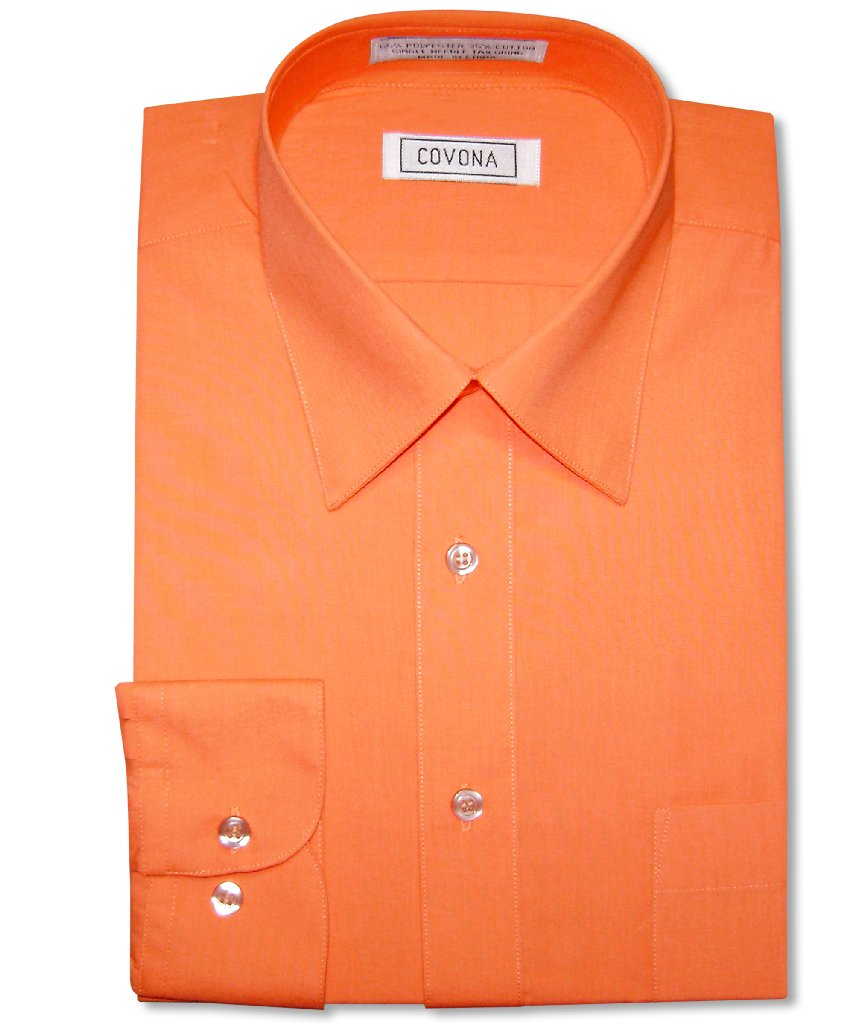Mens Solid Burnt Orange Color Dress Shirt with Convertible Cuffs
