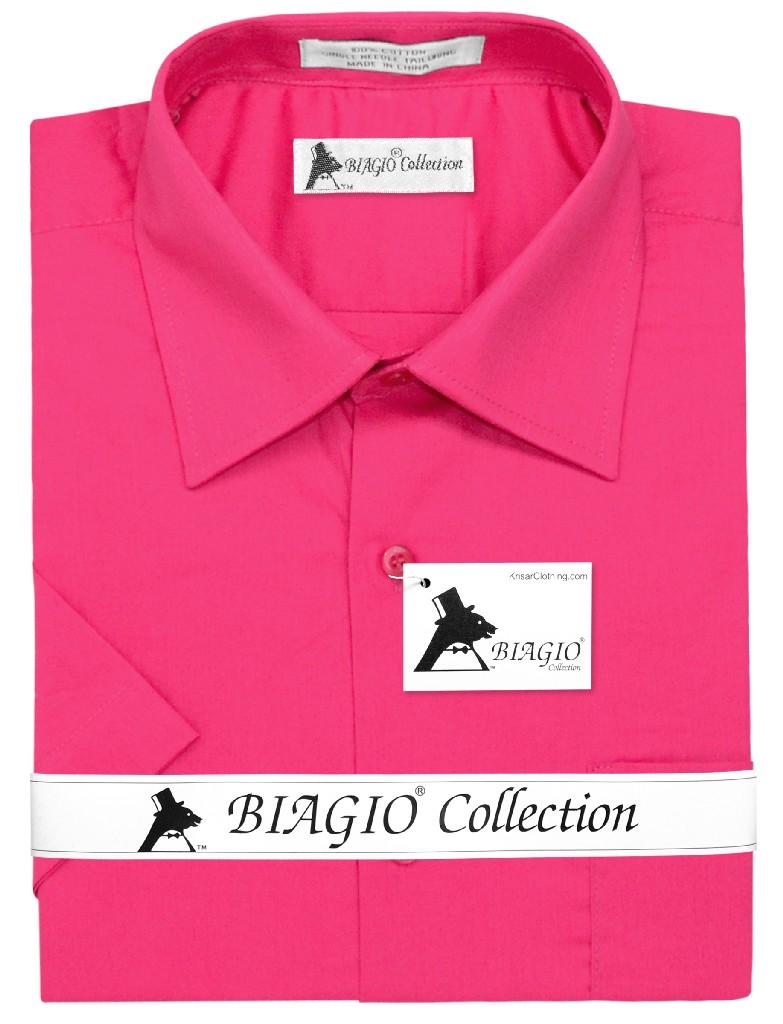 Mens Short Sleeve Dress Shirt Hot Pink Fuchsia Dress Shirt